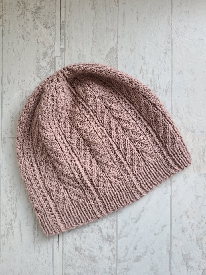 Prudence Island Hat: Pattern for adult hat with twisted stitches