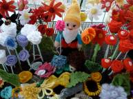 Gnome in the flowerbed