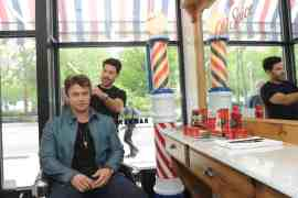 "Actor Luke Hemsworth and celebrity groomer Benjamin Thigpen join Old Spice to teach guys how to achieve a ""Hair"" of confidence with the grooming brand's line-up of hair styling products and shampoos, including new Swagger Gel, at Made Man Barbershop in New York, Thursday, May 11, 2017. (Photo by Diane Bondareff/Invision for Old Spice/AP Images)"