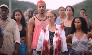 Sônia Braga as Dominga and cast in Bacurau