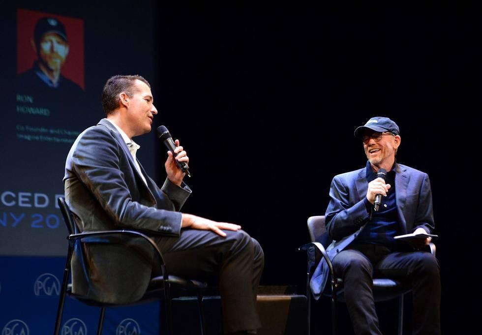 Scott Stuber (left) head of Netflix Film, Ron Howard (right) director