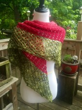 Dragonfruit Shawl in a solid and tonal by 987sherri on Ravelry