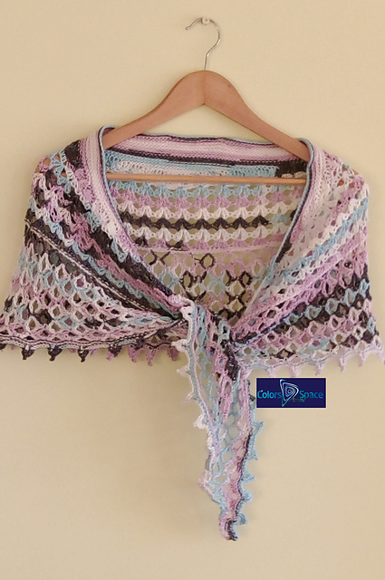 Dragonfruit Shawl in a self-striping yarn by colorsfromspace on Ravelry