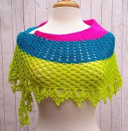 Dragonfruit Shawl in neon solids by keokifam2oz on Ravelry