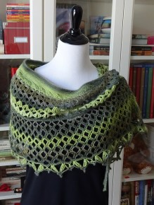 Dragonfruit Shawl in a slow-color-change yarn by Nancy-P on Ravelry