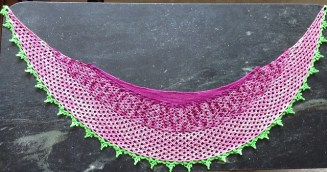 Dragonfruit Shawl in a combination of yarns by stricker on Ravelry