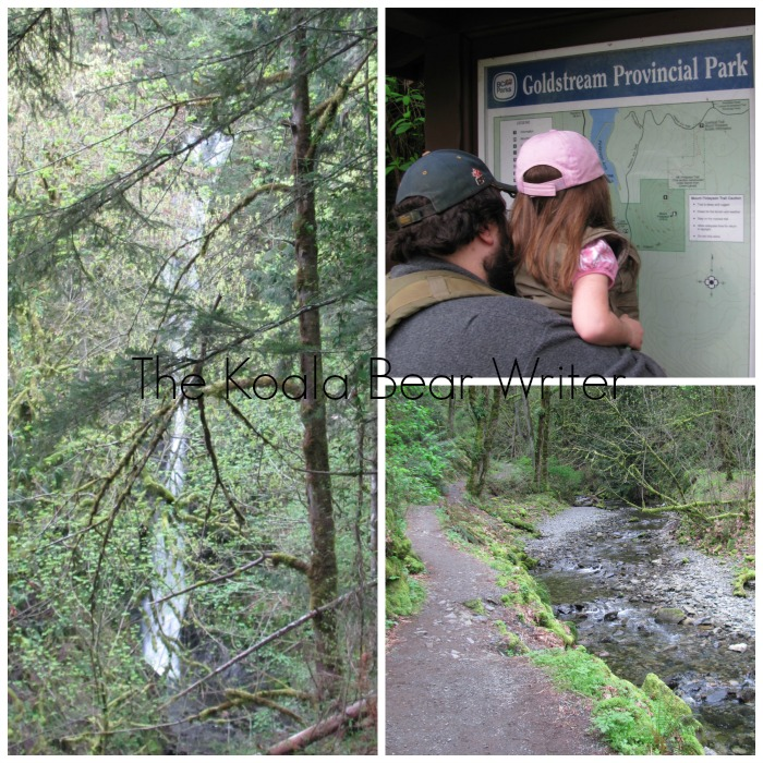 collage of waterfall and trail near Goldstream