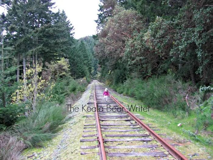 Lily hiking along the train tracks