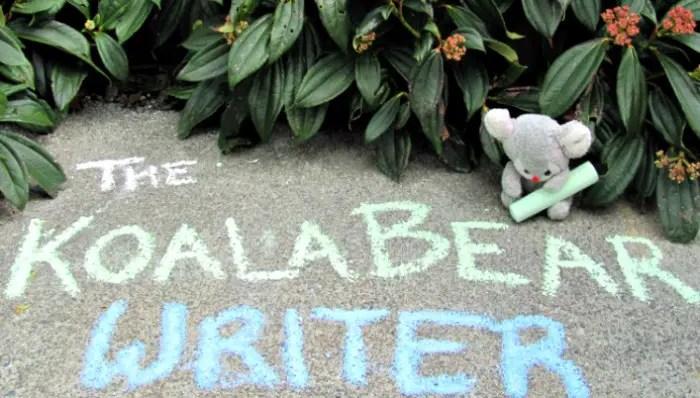 My koala bear mascot with my blog name written in chalk.