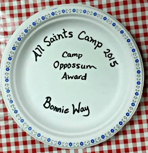 All Saints Camp 2015 Camp Oppossum Award for Bonnie Way
