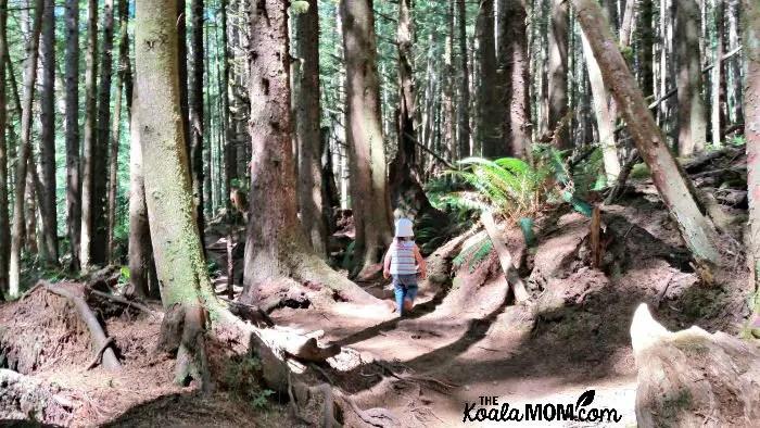 Jade hiking the trail to Mystic Beach