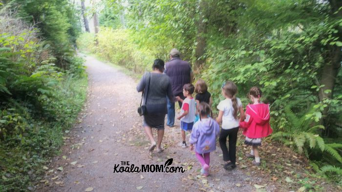 A family Hiking in Stanley Park
