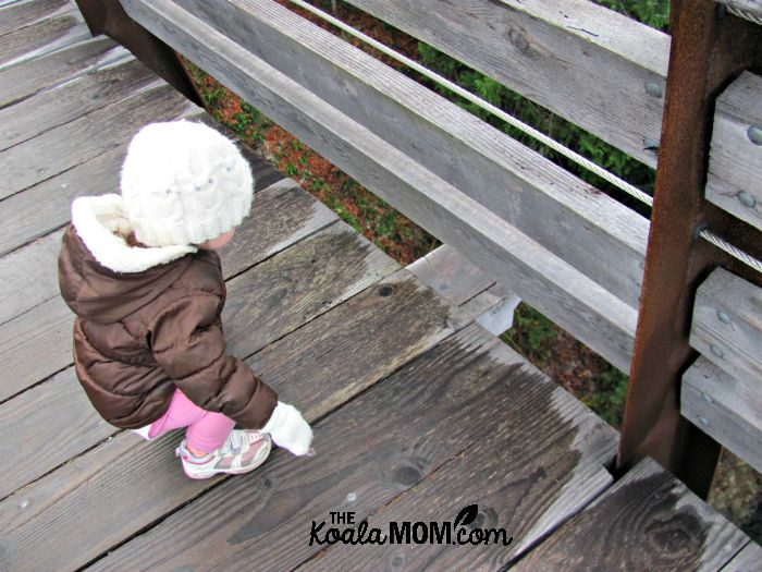 Toddler sitting on the Kinsol Trestle