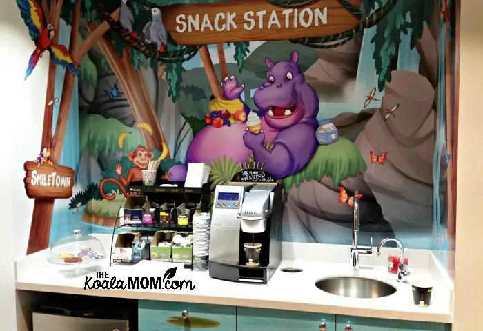 The snack station at Smiletown Dentistry