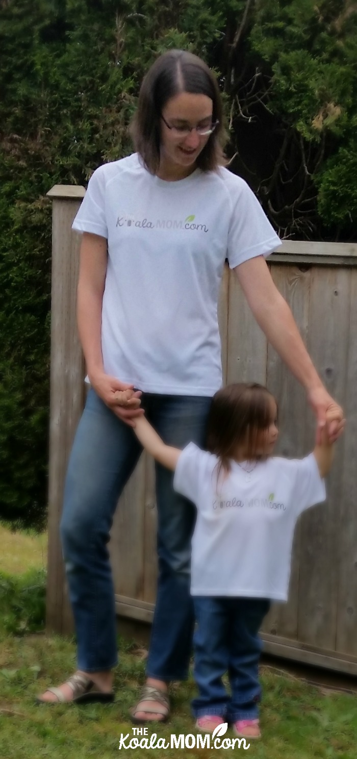 The Koala Mom with her toddler in matching TKM shirts from Bravo Apparel