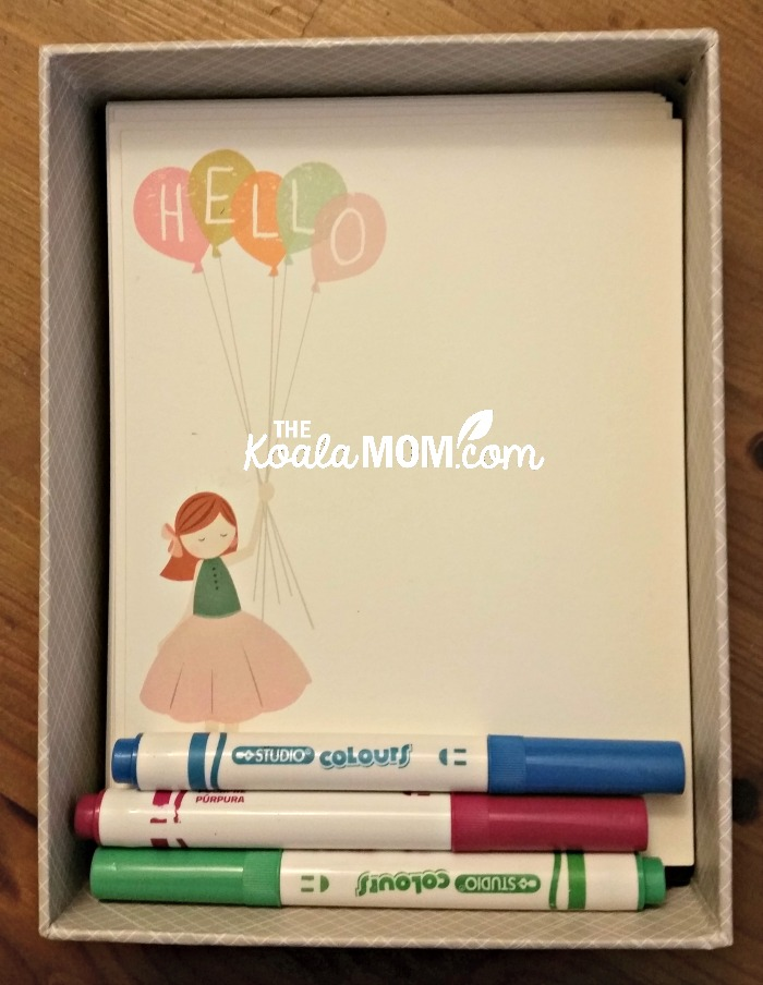 """A Sweet Hello"" personalized stationary with markers in a box from Minted.com"