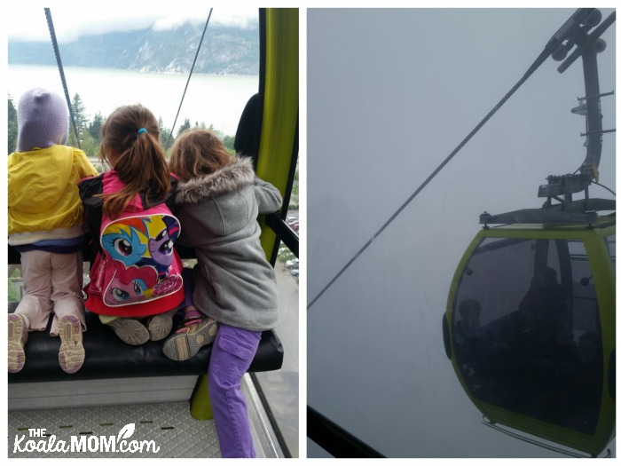 Three girls riding the Sea to Sky Gondola up the mountain in the fog