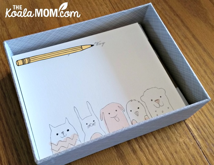 Personalized stationary for kids from Minted.com - a box of notecards