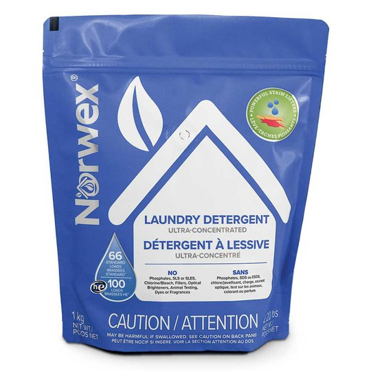 Norwex laundry detergent is ultra-concentrated and contains no harsh chemicals, fillers, or scents.