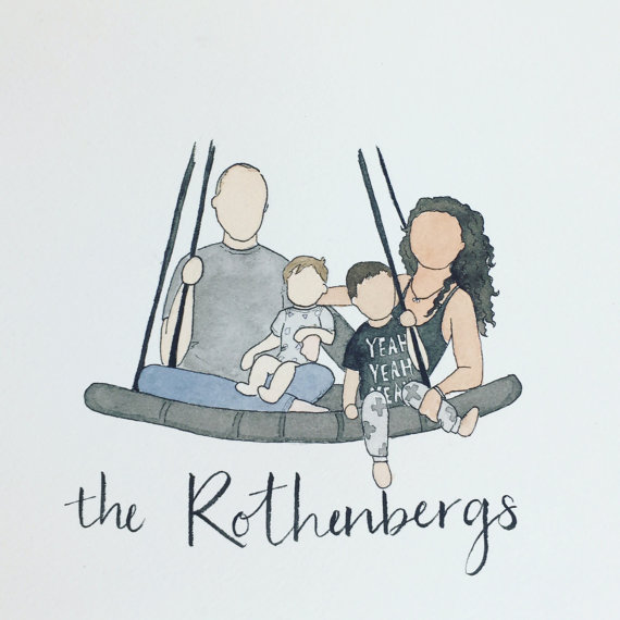 Custom Watercolour Family Portrait