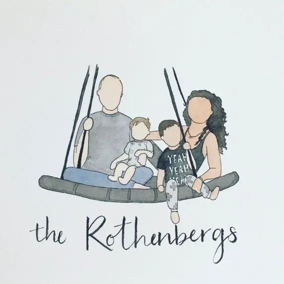 Custom Watercolour Family Portrait
