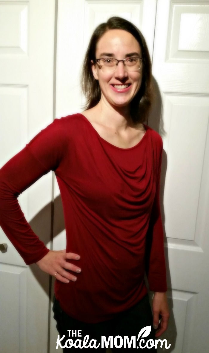 Breastfeeding apparel from Momzelle - a red, cowl-neck long-sleeve nursing top