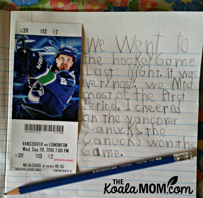 Lily writes about the Vancouver Canucks hockey game she attended with her KidsWorld pass