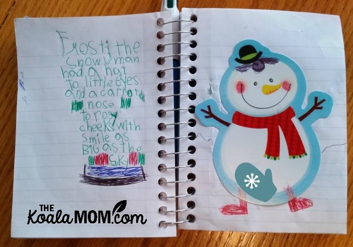 Frosty the Snowman story written by Lily in her road trip notebook
