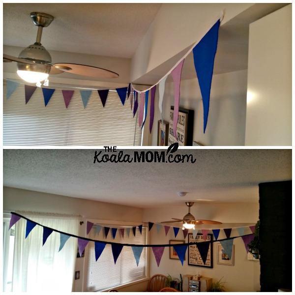 Purple and blue felt banner for a Narnia birthday party