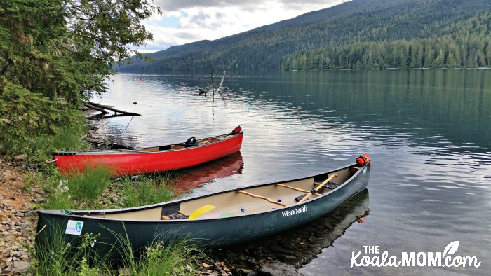 Canoes on beach at Clearwater Lake in Wells Grey Provincial Park