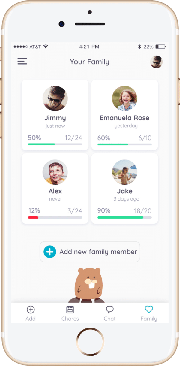 Family members in the Homey app