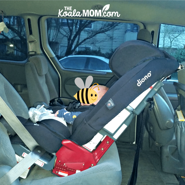 Baby boy in a rear-facing Diono Radian RXT car seat