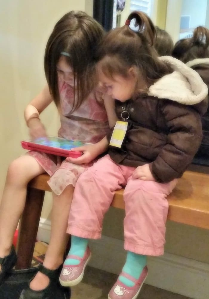 Jade (4) and Pearl (2) playing Starfall together on my tablet.