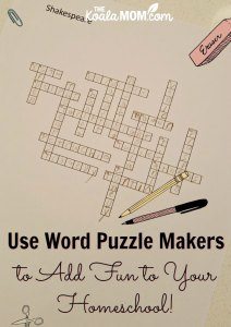 Use Word Puzzle Makers to Add Fun to Your Homeschool!
