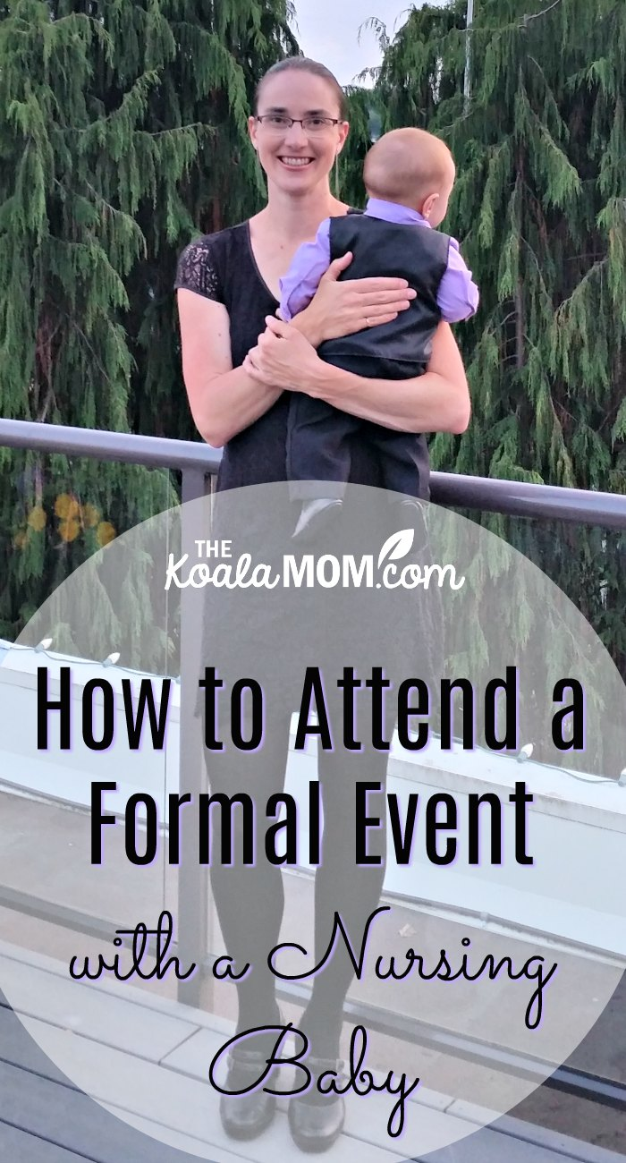 How to Attend a Formal Event with a Nursing Baby (mom wearing a Momzelle black nursing dress holding a baby in a suit)
