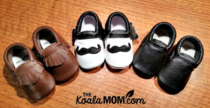 Three pairs of baby moccasins from Mia's Moccs