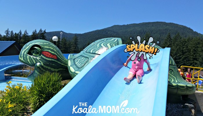 Toddler on the Turtle Slides at Cultus Lake Waterpark.