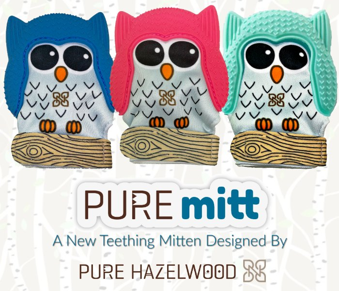 PureMitt, a new baby teething mitten from Pure Hazelwood
