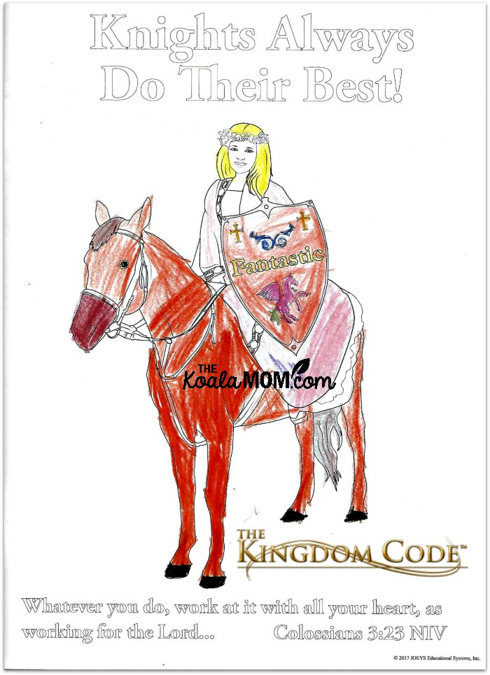 The Kingdom Code colouring book page.