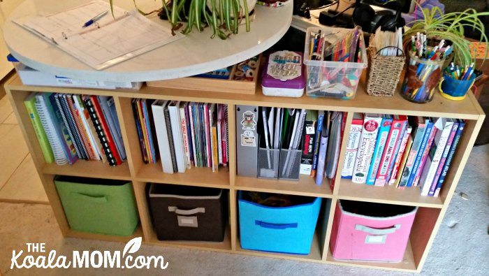 Our homeschool bookshelf, neatly arranged with our curriculum and workbooks for this year!