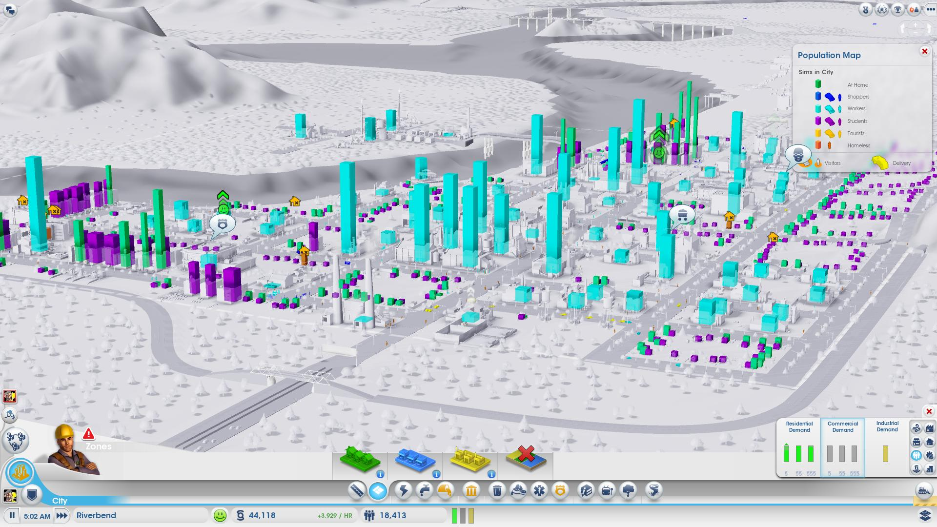how to see demand in sim city 4