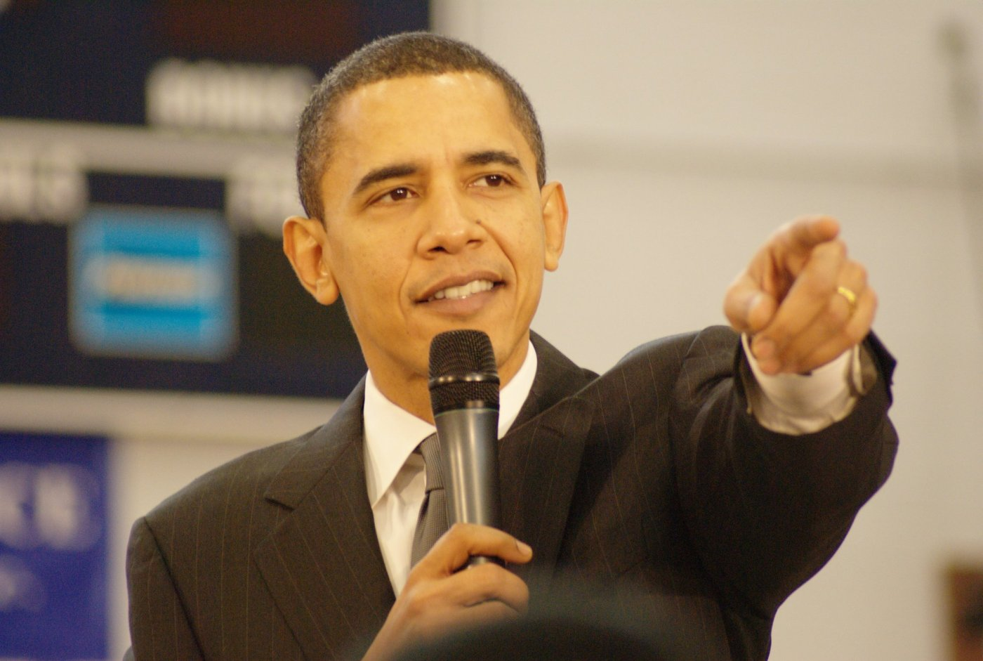 Barak Obama on the microphone