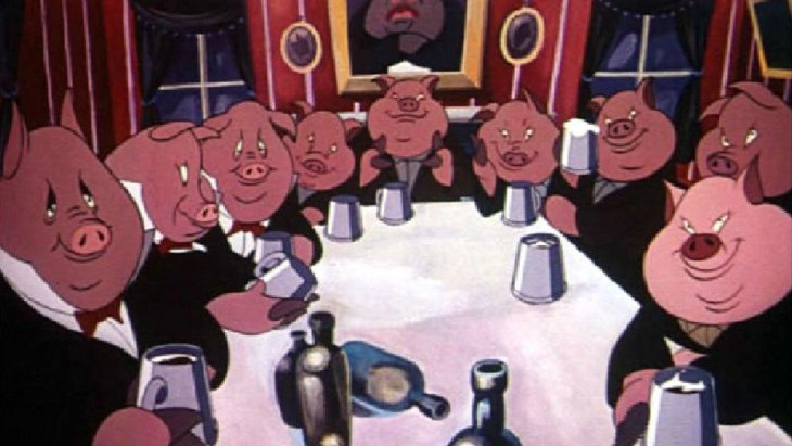 The pigs in Animal Farm after they became discernible from the humans they were once against.