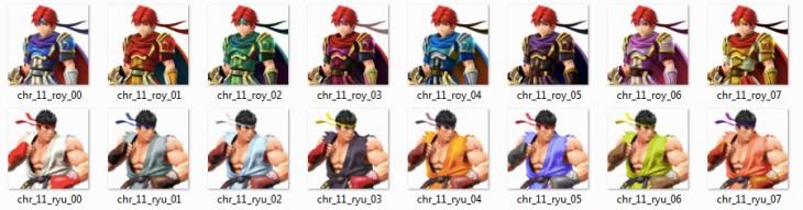 Roy + Ryu character colors - Super Smash Bros