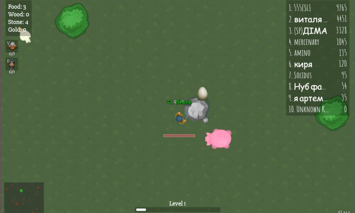 A screenshot from survival game Glor.io