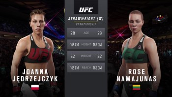 Joanna Jędrzejczyk and Rose Namajunas at UFC 217