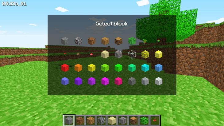 The UI in Minecraft Classic