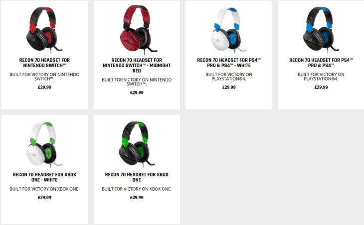 Turtle Beach Recon 70 headsets