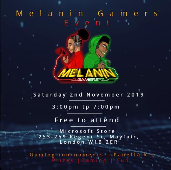 Melanin Gamers, Microsoft Store event flyer