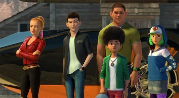 Layla (Camille Ramsey), Tony, Echo (Charlet Chung), Cisco (Jorge Diaz), Frostee (Luke Youngblood)
